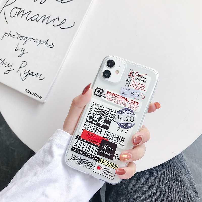 新しい潮ブランドタグソフトシリコン電話ケース小箱iphone 11 プロマックスse 2020 6 7 8 プラス × xr xs最大ノンスリップバックカバーcoque