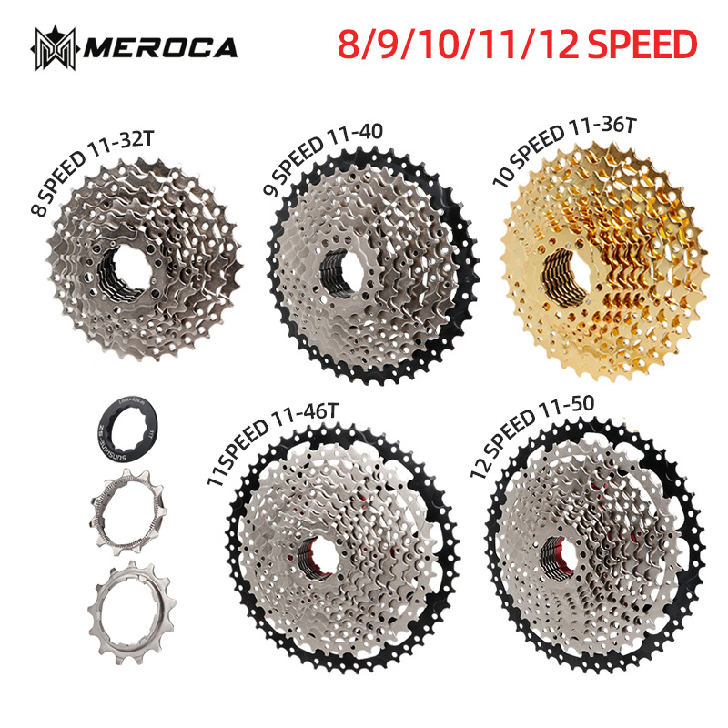 MEROCA 8 9 10 <font><b>11</b></font> 12 Speed MTB Bicycle Freewheel Pure Steel 32 36 <font><b>40</b></font> 42 46 50 52T <font><b>Cassette</b></font> Flywheel Mountain Bike image