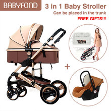 baby stroller 3 in 1 collapsible two-way baby pram four-wheel shock absorber stroller(China)