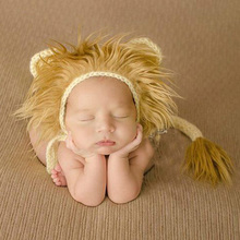 Hat Photography-Props Costume Crochet Knitted Newborn Infant Baby Lion with Tail Halloween