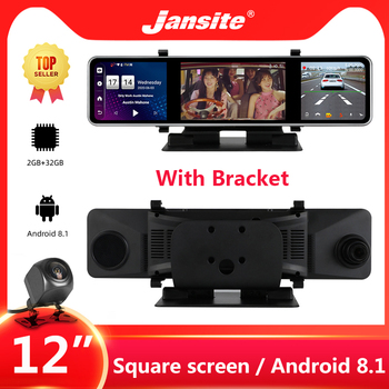 Jansite 12 DVR Dash cam 4G Touch Square Screen Rear View Camera Android 8.1 GPS Wifi dual dash cam Rearview mirror Rear cameras азбукварик книга азбукварик тень тень потетень малютка