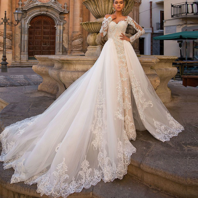 Sexy Mermaid Wedding Dresses Detachable Skirt 2020 Applique Lace Long Sleeve Button Back Bridal Wedding Gowns For Bride