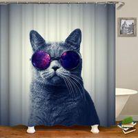 Cortina para bañera o ducha gato divertido espacio de estrellas a prueba de agua gato ducha cortinas de baño cortinas de tela para baño o alfombra|Cortinas de ducha| |  -