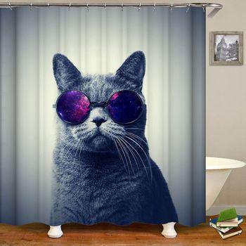 Kot zasłona prysznicowa wanna zabawna gwiazda przestrzeń wodoodporna kot zasłona prysznicowa kurtyna łazienkowa zasłony z materiału do łazienki lub maty tanie i dobre opinie Foxscream show curtain Europa Zaopatrzony Ekologiczne Other Poliester 90cm--180cm 180cm--200cm bathing curtain High Wide