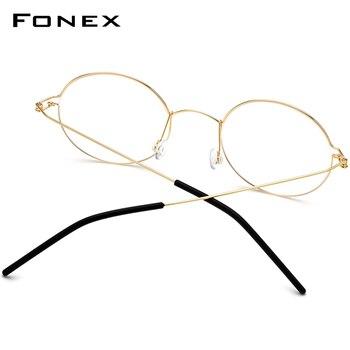 FONEX Screwless Eyewear Prescription Eyeglasses Frame Women Round Myopia Optical Denmark Korean Glasses Frame Men Titanium 98607