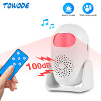 TOWODE-Detector de movimiento infrarrojo PIR inalámbrico, 100dB, fuerte, 11 idiomas, sistema de bienvenida para el hogar, Sensor de alarma antirrobo inteligente