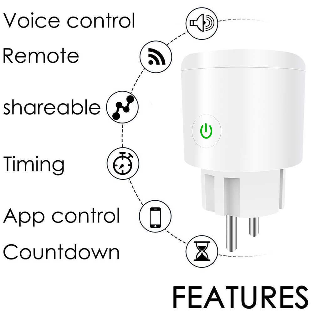 Wi-Fi Smart Plug Mini gniazdo ue gniazdo zdalnego sterowania funkcja rozrządu dla głosowy Smart Phone sterowania dla urządzeń domowych