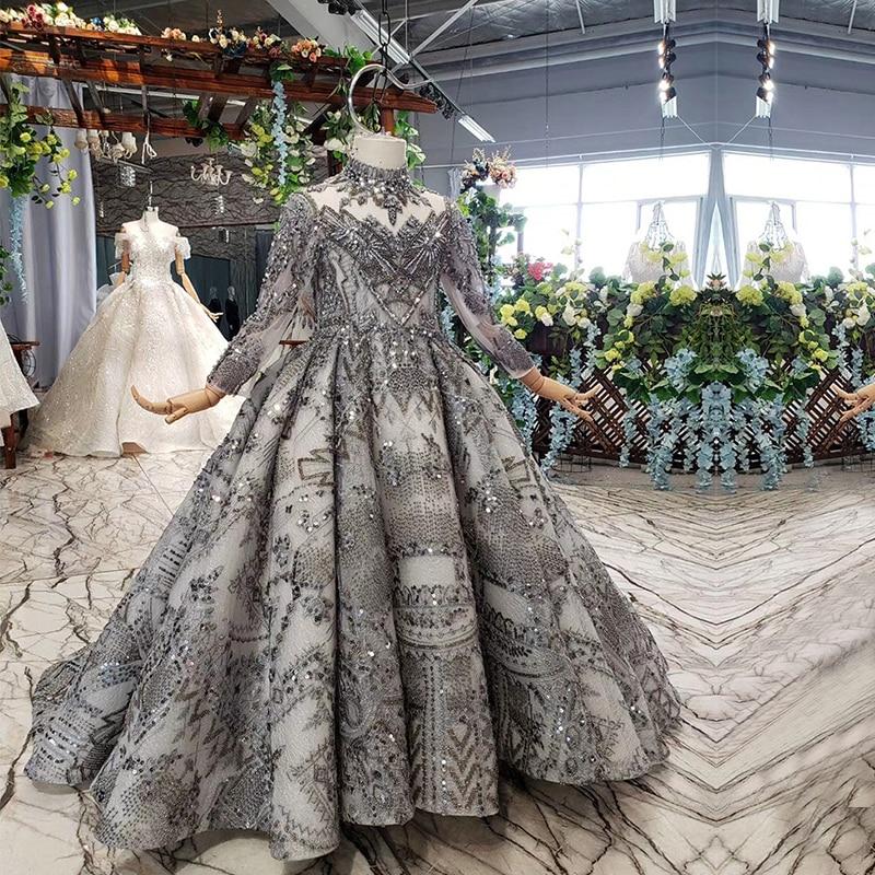 Image 3 - Luxury Arabic Kids Evening Ball Gown Long Sleeve Kaftan Beaded Wedding Party Little Bride Flower Girl Pageant Dress with TrainFlower Girl Dresses   -