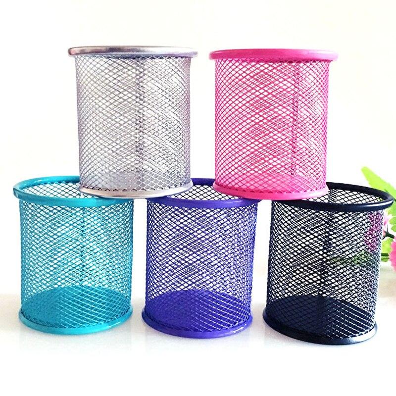 New Pencil Holder Office Desk Metal Mesh Square Pen Pot Cup Case Container Organiser Durable Pencil Case