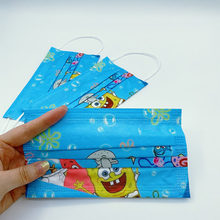 Mascarilla desechable con estampado de dibujos animados para niños y adultos, 3 capas de protección antipolvo, 10/100 Uds.