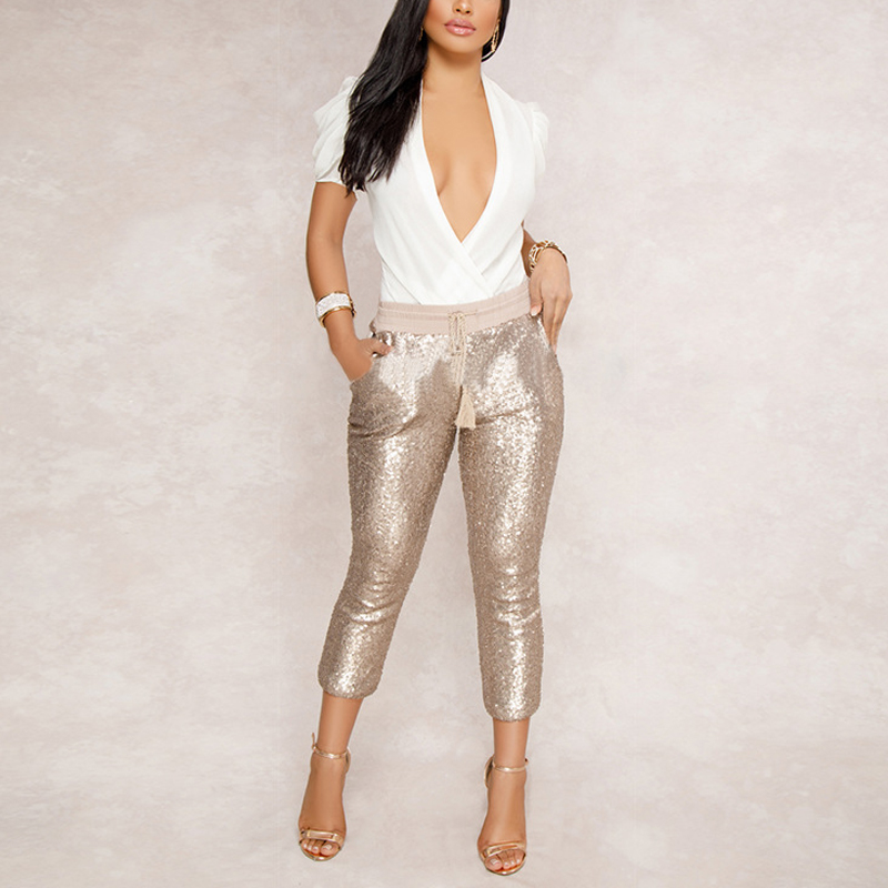 Fashion Sequin Pencil Pants Women Gold Black Drawstring High Waist Calf-length Pants Bling Nightclub Party Women's Trousers