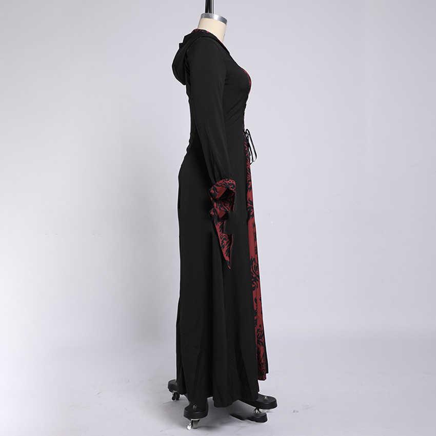 Vestido de talla grande para mujer, vestido de Halloween Medieval, disfraz victoriano gótico, largo hasta el suelo, ropa con capucha