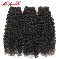 ALI ANNABELLE HAIR Brazilian Kinky Curly Hair 100% Human Hair Weave Bundles 1/3/4 Pieces Natural Color Remy Hair Bundles