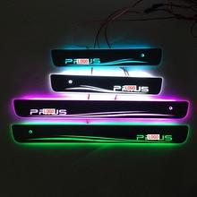 Carro estilo para toyota prius led peitoril da porta placa de chinelo pedal bem vindo limiar brilhante brilhante pedal para toyota prius