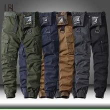 Calças de carga de algodão casual dos homens elástico ao ar livre caminhadas trekking tático moletom masculino militar multi-bolso calças de combate