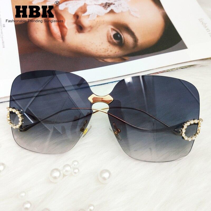 Rimless Square Sunglasses Women Oversized Vintage Italy Brand Designer Diamond Sun Glasses Ladies Shades Rhinestone Oculos UV400