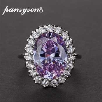 PANSYSEN de lujo 100% Oval de Plata de Ley 925 amatista diamante Anillos de Compromiso de boda para mujeres de moda joyería fina anillo de regalo