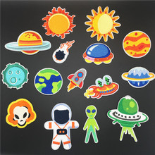 Space Planet Parches Embroidery Sun UFO Alien Iron On Patch For Clothing  Earth Astronaut Rocket Cloth Sticker DIY Applique