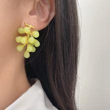 Новинка японские корейские трендовые милые летние фиолетовые зеленые длинные фрукты винограда полимерная Серьга для женщин для вечерние ...