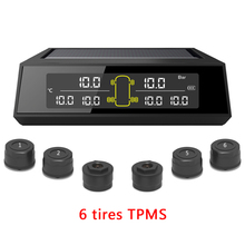 Auto Lkw TPMS Tire Pressure Monitoring System Auto Drahtlose Solar Lade Alarm System Spannung Control mit 6 Externe Sensoren