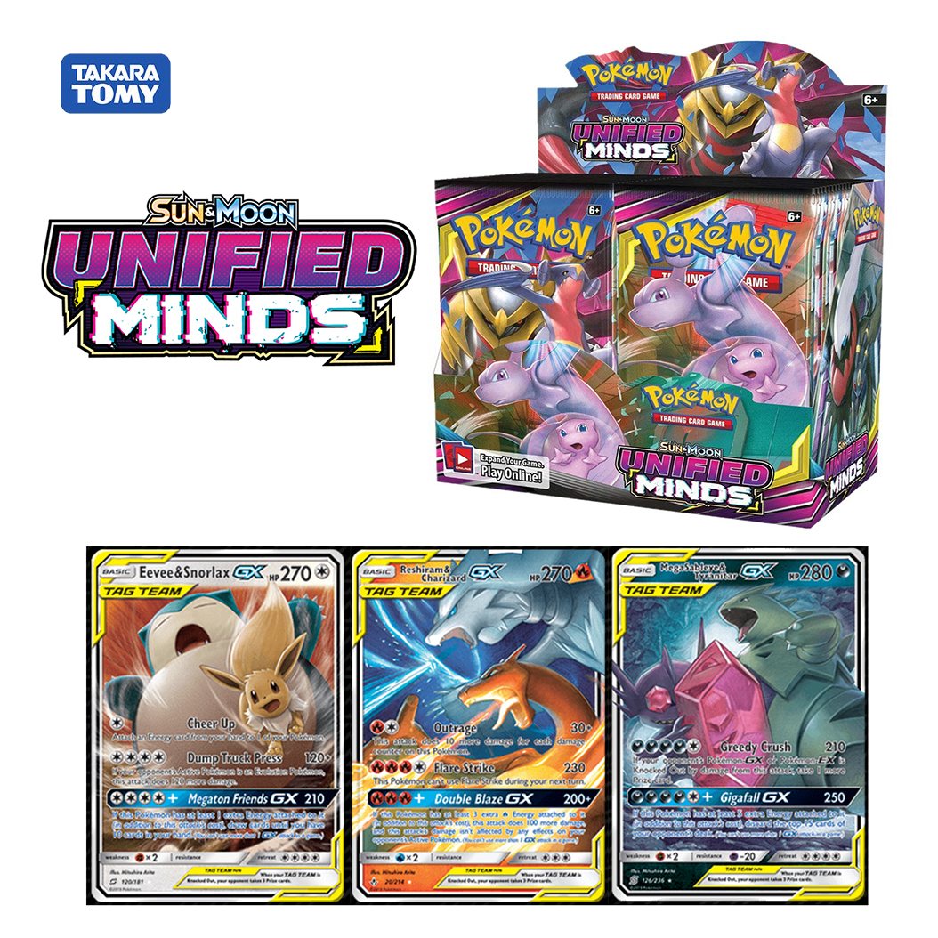 324pcs Pokemon Mewtwo Charizard GX Sun & Moom Unifide Minds Booster Display Box Trading Cards Game Collectible Gift Kids Toy
