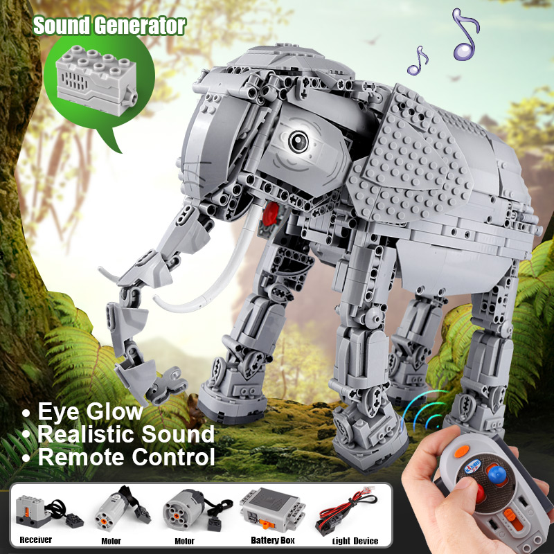 star series Technic war Creators 1542pcs Creative RC Remote Control Elephant Animal Electric Building Blocks toys