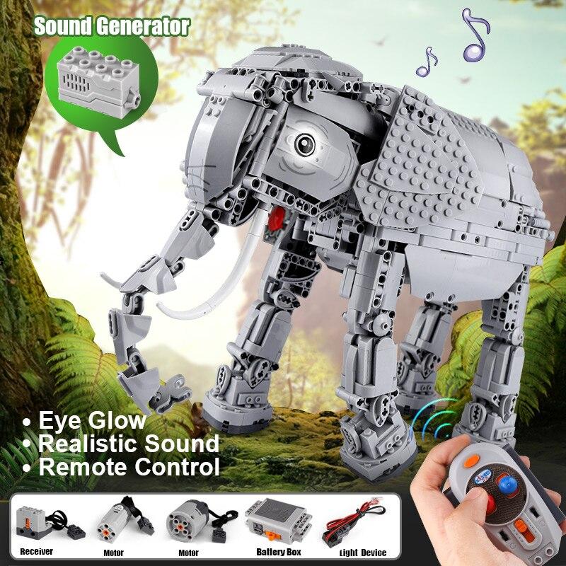 Bloques de construcción eléctricos de elefante con Control remoto a Control remoto creativo de 1542 piezas para niños-in Bloques from Juguetes y pasatiempos    1
