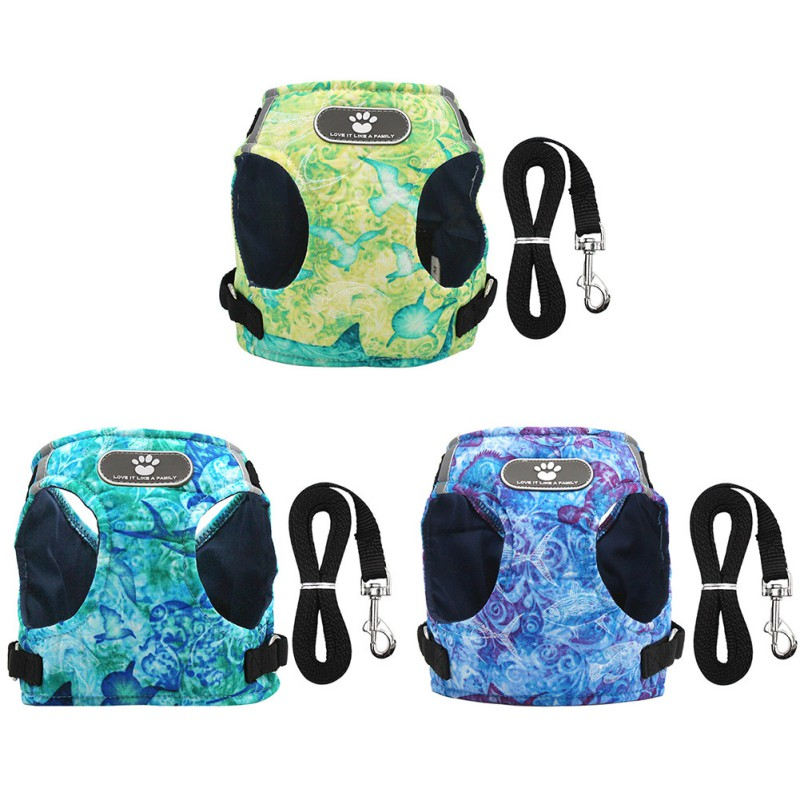 Dog Cat Harness And Leash Set Pet Adjustable Reflective Vest Walking Lead Leash Puppy Harness for Small Medium Dog
