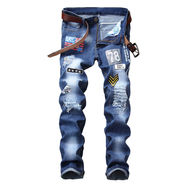 MEN'S WEAR With Holes Micro Elastic Separate Station Loose-Fit Digital Printing Lettered MEN'S Jeans