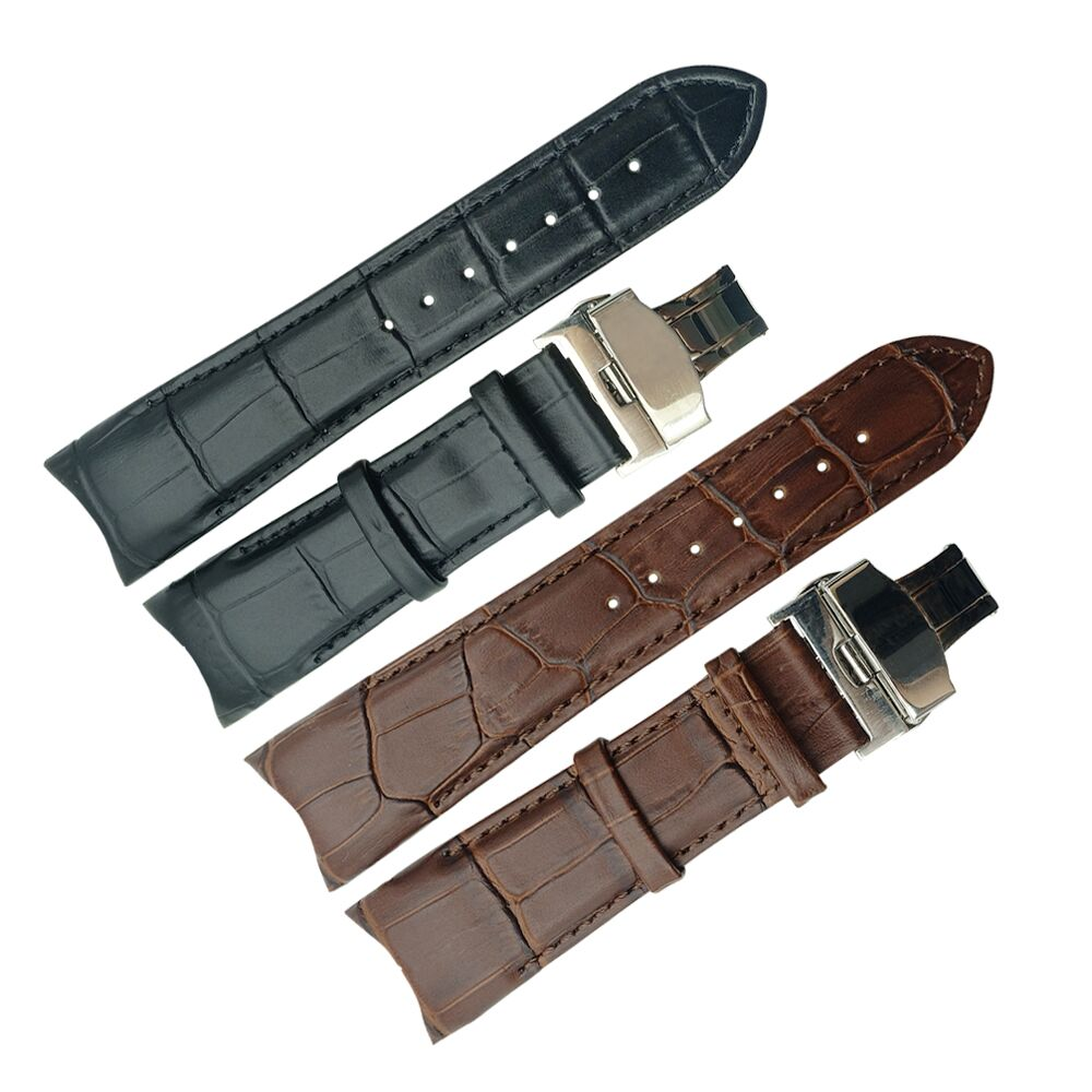 Handmade Genuine Leather <font><b>Watch</b></font> Band for Tissot T035 <font><b>PRC200</b></font> T055 T097 Watchband Butterfly Buckle Strap Wrist Bracelet image