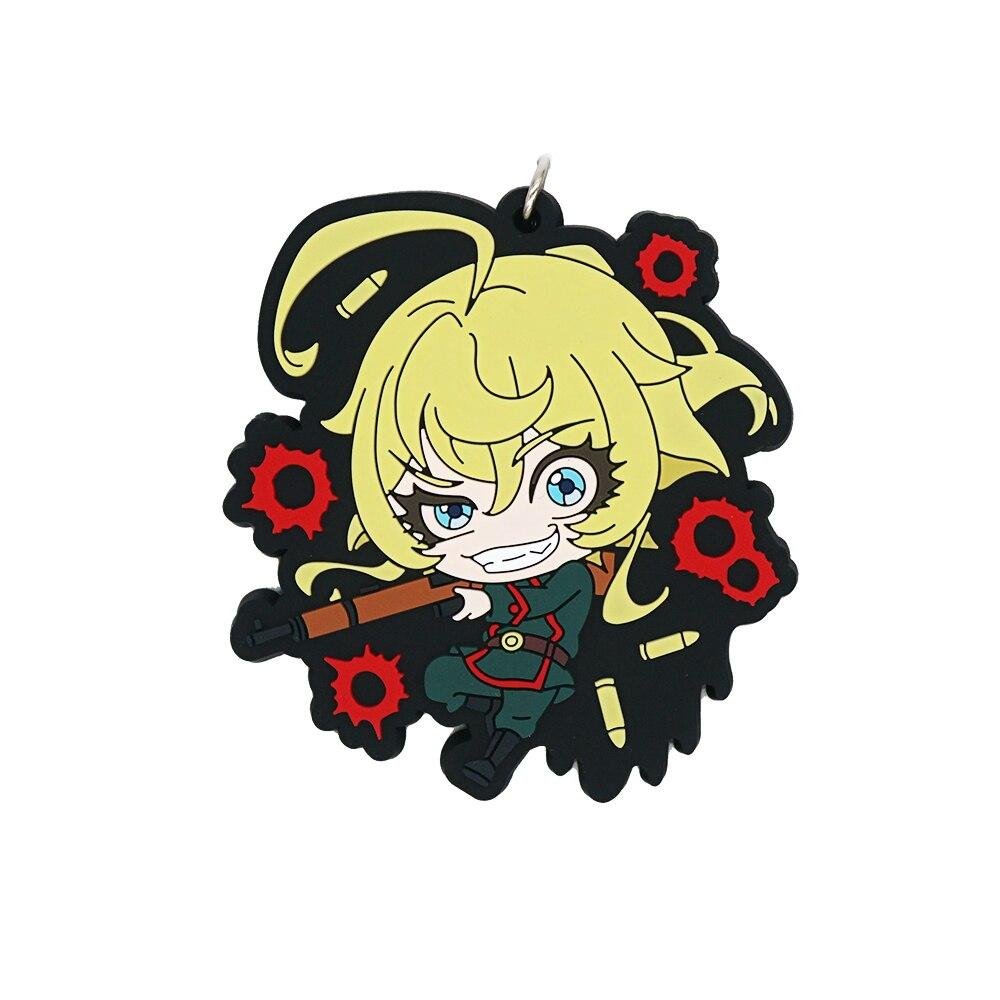 Saga of Tanya the Evil Anime Tanya Von Degurechaff Cute Rubber Strap Keychain(China)