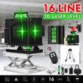 16 зеленых линий лазерный уровень + штатив 3D самонивелирующийся 360 горизонтальный и вертикальный крест Открытый Мощный лазерный луч линии