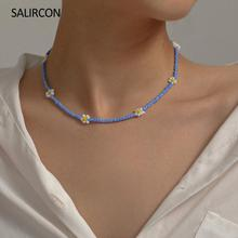 Salircon Bohemia Seed Beads Flower Choker Necklace For Women Girl Trendy Clavicle Chain Collier Short Necklace Statement Jewelry retro women s exaggeration mixing crystal ball necklace pearl turquoises short clavicle chain statement choker necklace jewelry