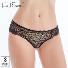 FallSweet 3 pcs/ Pack ! Sexy Lace Panties Transparent Briefs Women Ultra Thin  Underpants Femme