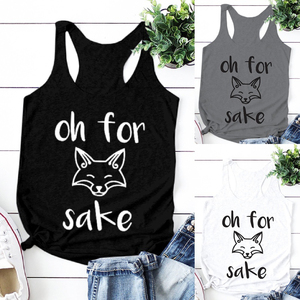 2020 new Oh for sake cartoon fox printed vest for women cute lovely tank tops female unisex summer sleeveless top mujer(China)
