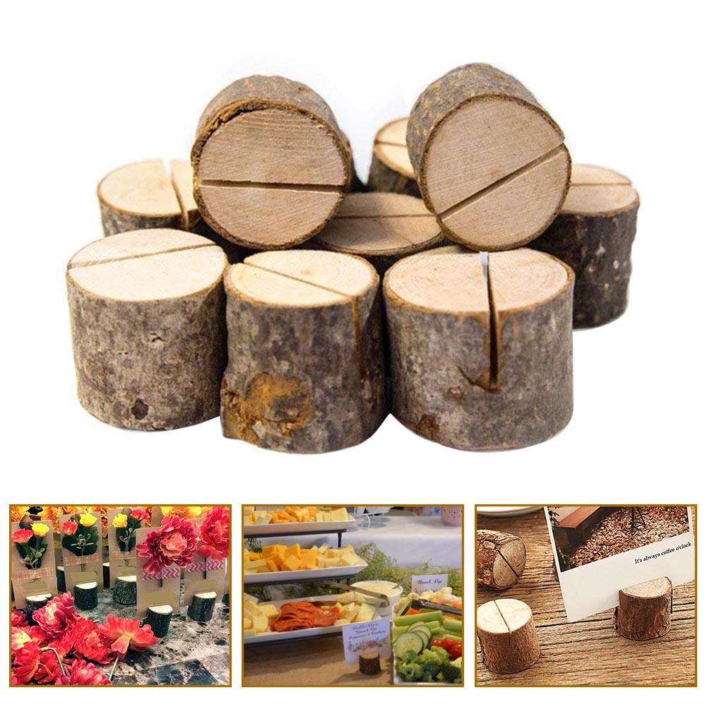 10Pcs Natural Round Wood Table Number Card Clip Holder Stand Wedding Party Decor