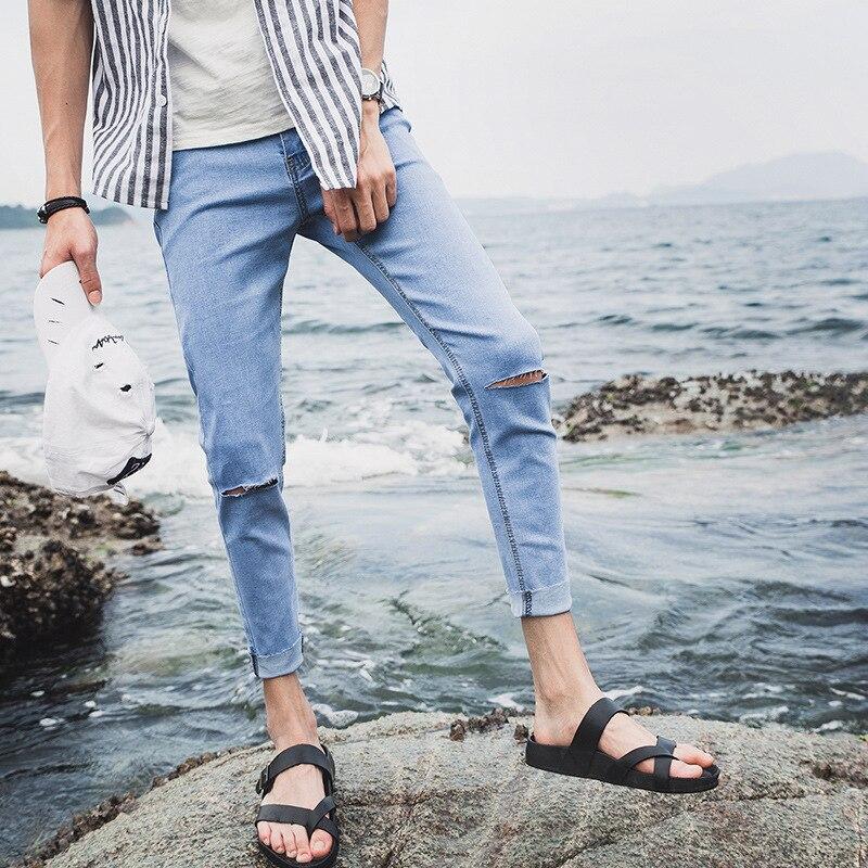 Beggar With Holes Capri Jeans Men's Skinny Slim Fit Korean-style Knee Trend Students Elasticity 9 Pants MEN'S Black