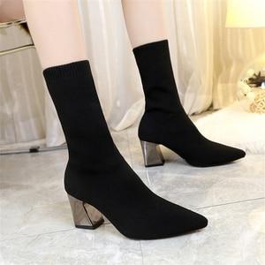 Image 2 - JIANBUDAN kadın seksi yüksek topuklu çorap çizmeler sonbahar kış moda örme streç çizmeler kadın siyah ayak bileği çorap çizmeler 34 43