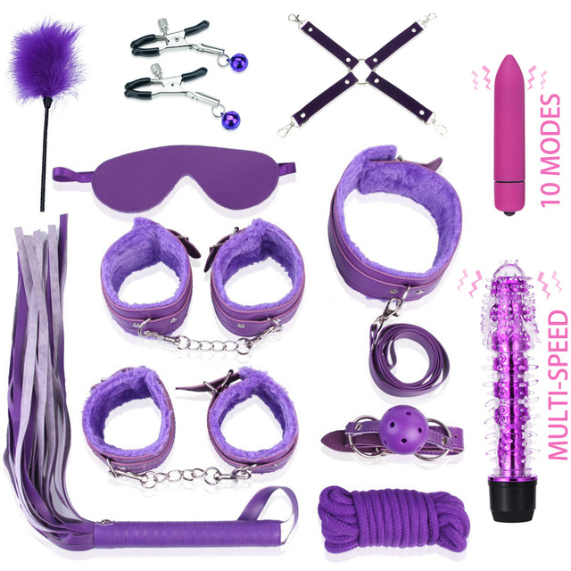 Lots Sex Toys for Woman Handcuffs Nipple Clamps Butt Anal Plug Vibrator BDSM Bondage Set Erotic Goods Couples Games for Adults