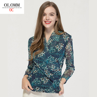 OLOMM Summer 2020 new Loose ruffled short sleeve t shirt Women's T shirt Elasticity printing BSY8043