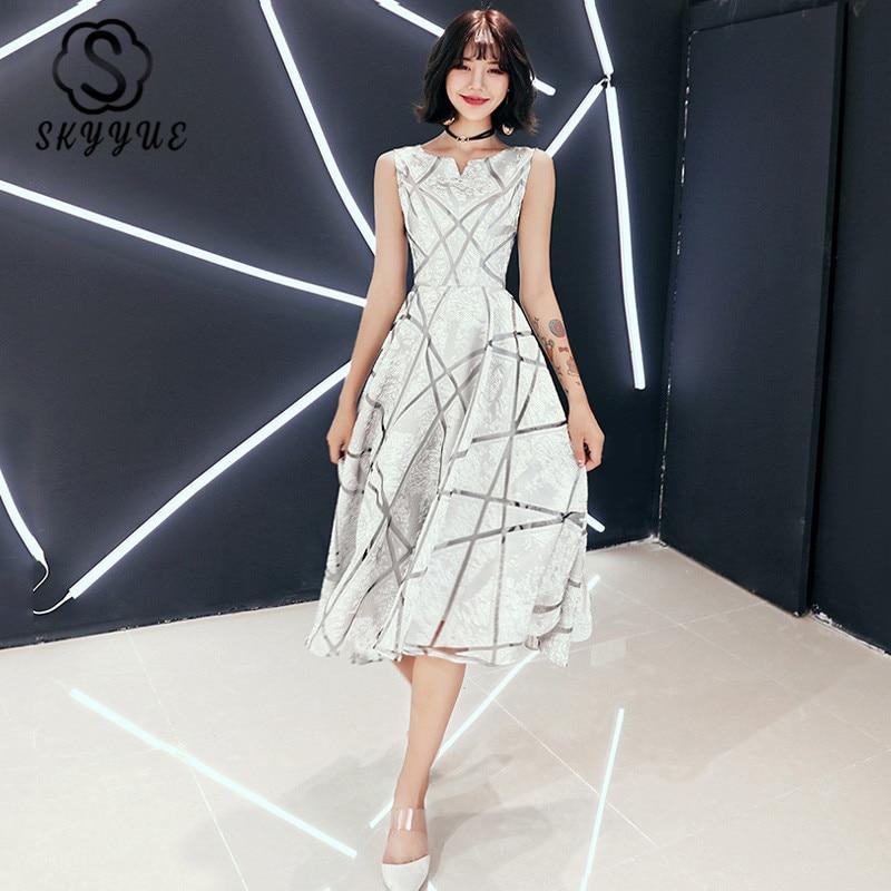 Prom Dresses Skyyue ER223 O-neck Sleeveless Tea Length Formal Dresses 2020 Elegant A Line Lines Print Women Party Gowns