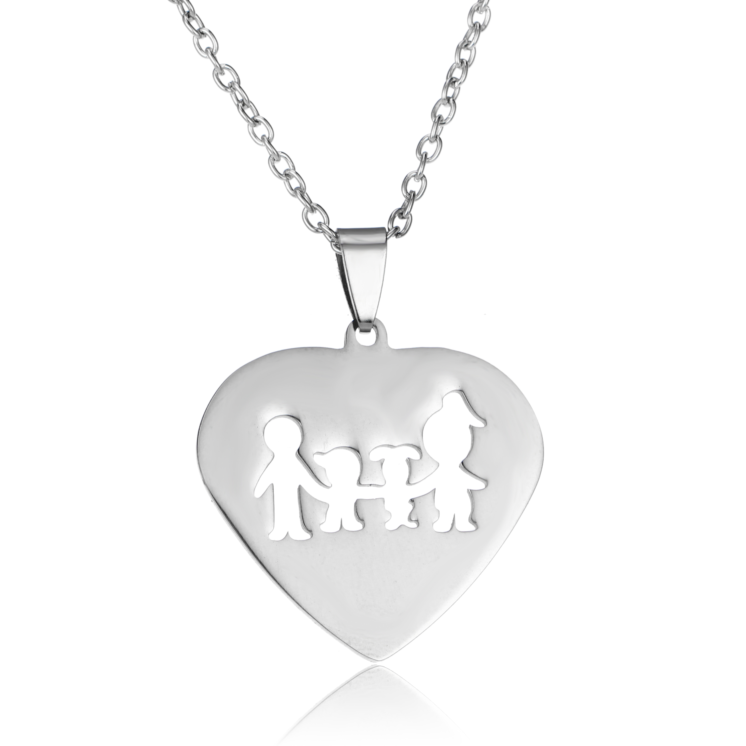 Silver Necklace For Mom Dad Family Love Heart Pendant Women Men Jewelry Gifts