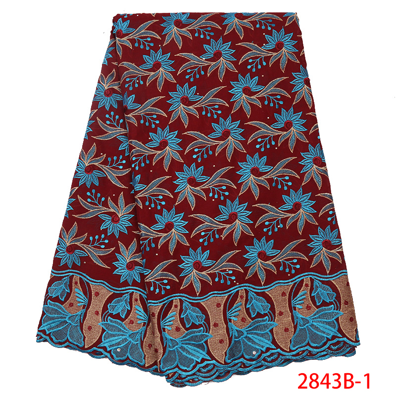 High Quality Swiss Voile Laces In Switzerland Flower Soft Cotton Women Dress African Embroidered Lace Fabric KS2843B-1