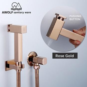 цена на Toilet Bidet Douche Kit Hand Held Sprayer Solid Brass Rose Gold Square Shattaf Shower Set With Pushign Button AP2201