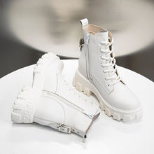 Новинка; Женские ботинки из натуральной кожи на толстой подошве;