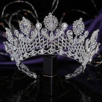 Crown HADIYANA Romance Dignified Zirconia Tiara Women Wedding Bride Hair Accessories Princess Luxury Hair Jewelry BC3318 Diadema