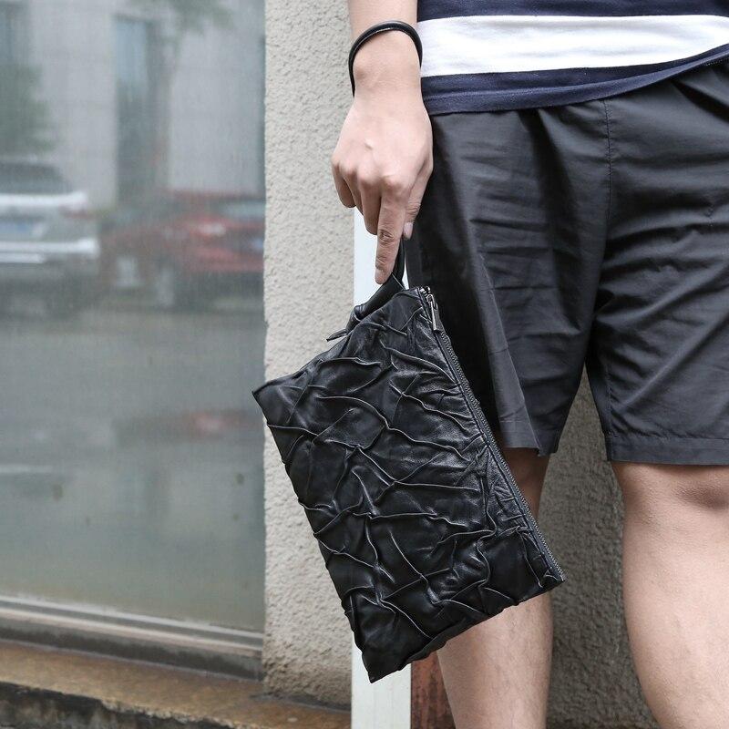 Mannen Clutch Bag Lederen Top Schapenvacht Zachte Toevallige Mannelijke Lange Portefeuilles Telefoon Tas Vrouwen Grote Capaciteit Portemonnee Business handtas - 2