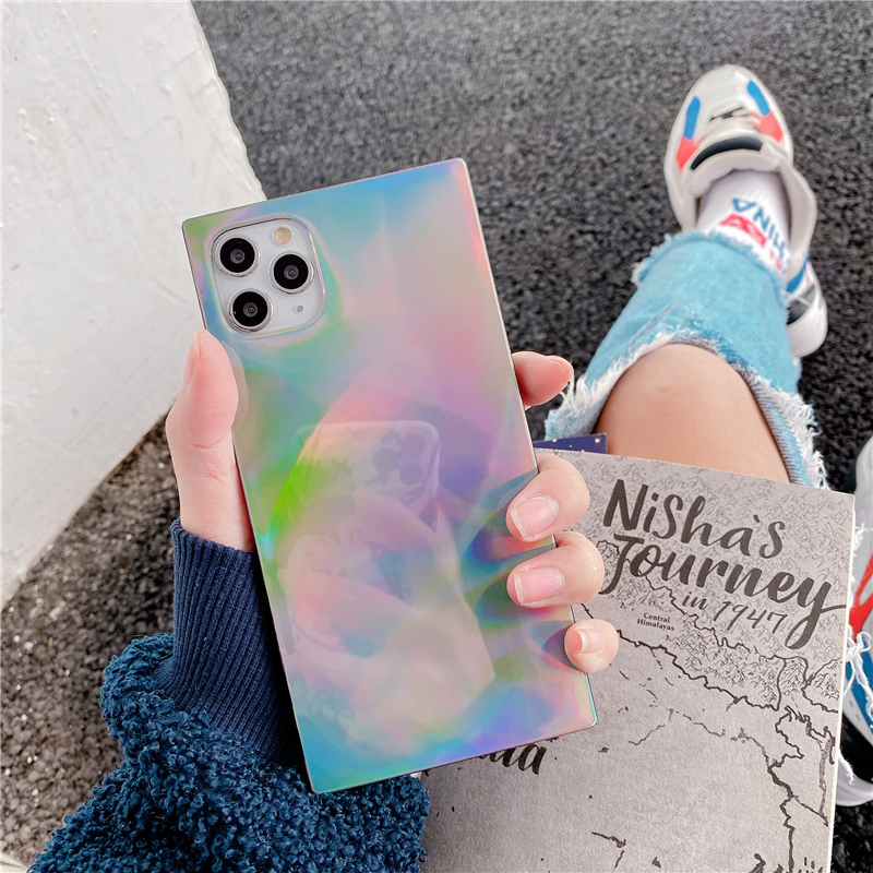 square Laser square phone Case for iphone 6 6s 7 8 Plus For iphone 11 11Pro Max X XR XS Max soft silicone case back cover