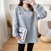 Hoodie Sweater Clothing Pullover Winter Pregnant-Women Solid for 9115P Embroidery Oversized