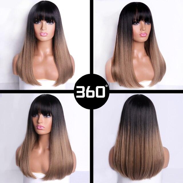 Фото linghang 18 дюймов длинный синтетический парик с челкой темные